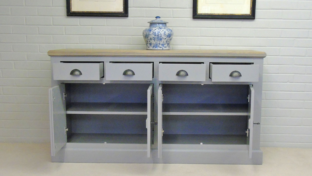 Richmond Low Painted Sideboard - Front View - Drawers and Doors Open