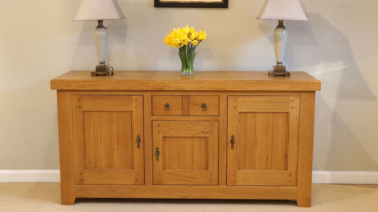 Solid Oak Sideboard (ex display) - Front View - All Closed