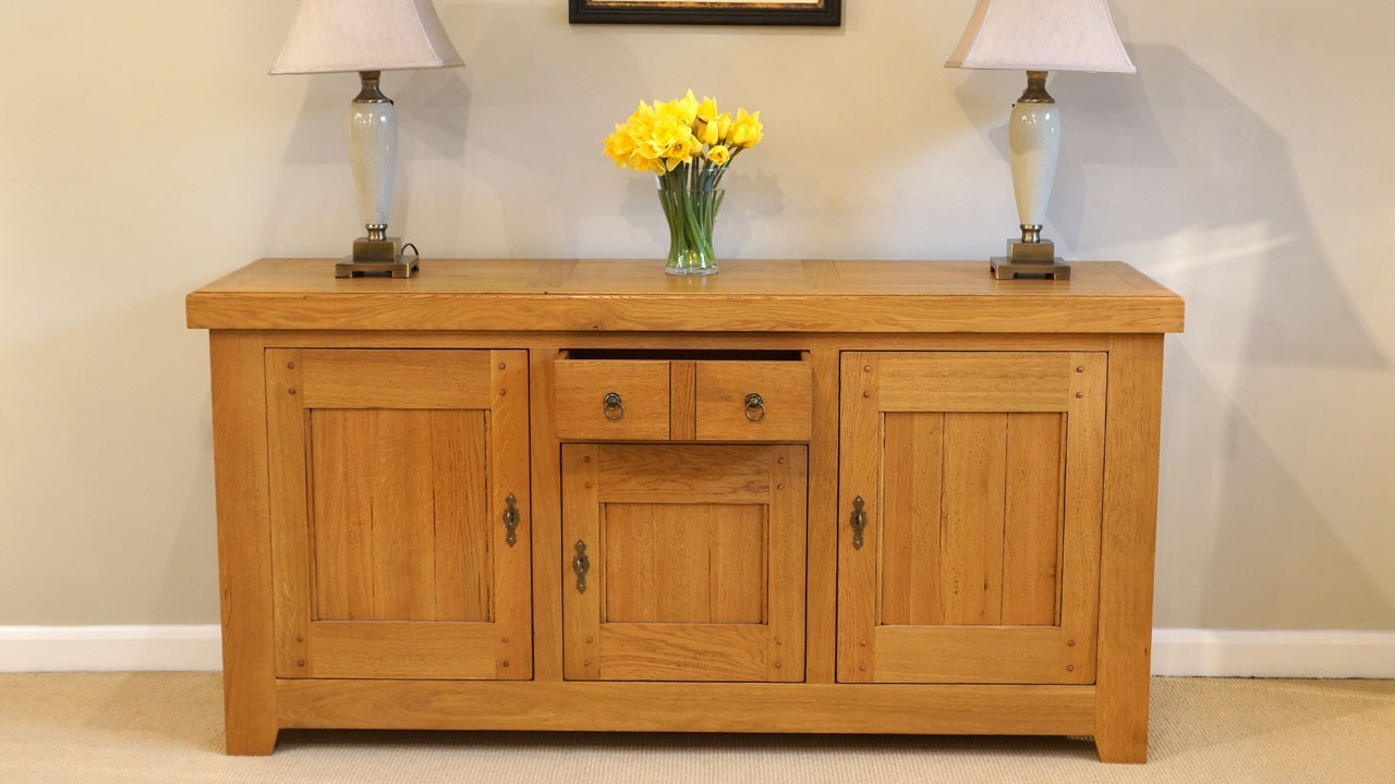 Solid Oak Sideboard (ex display) - Front View - Drawer Open