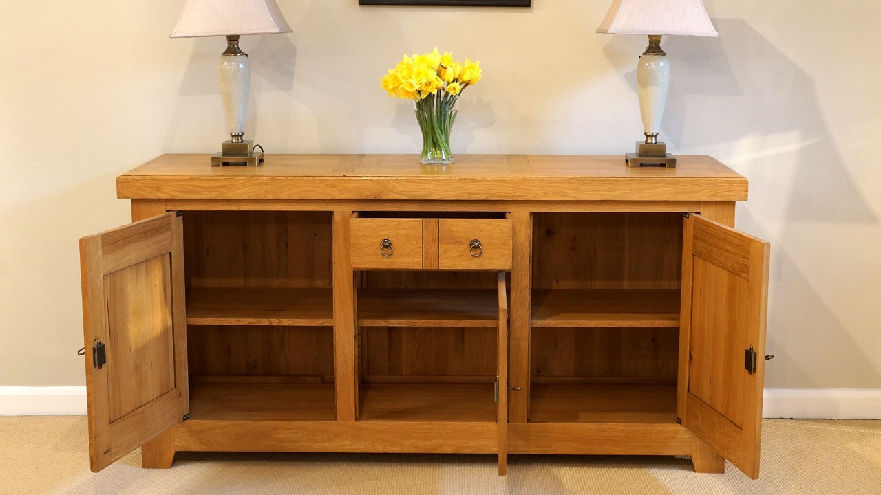 Solid Oak Sideboard (ex display) - Front View - Drawer and Doors Open