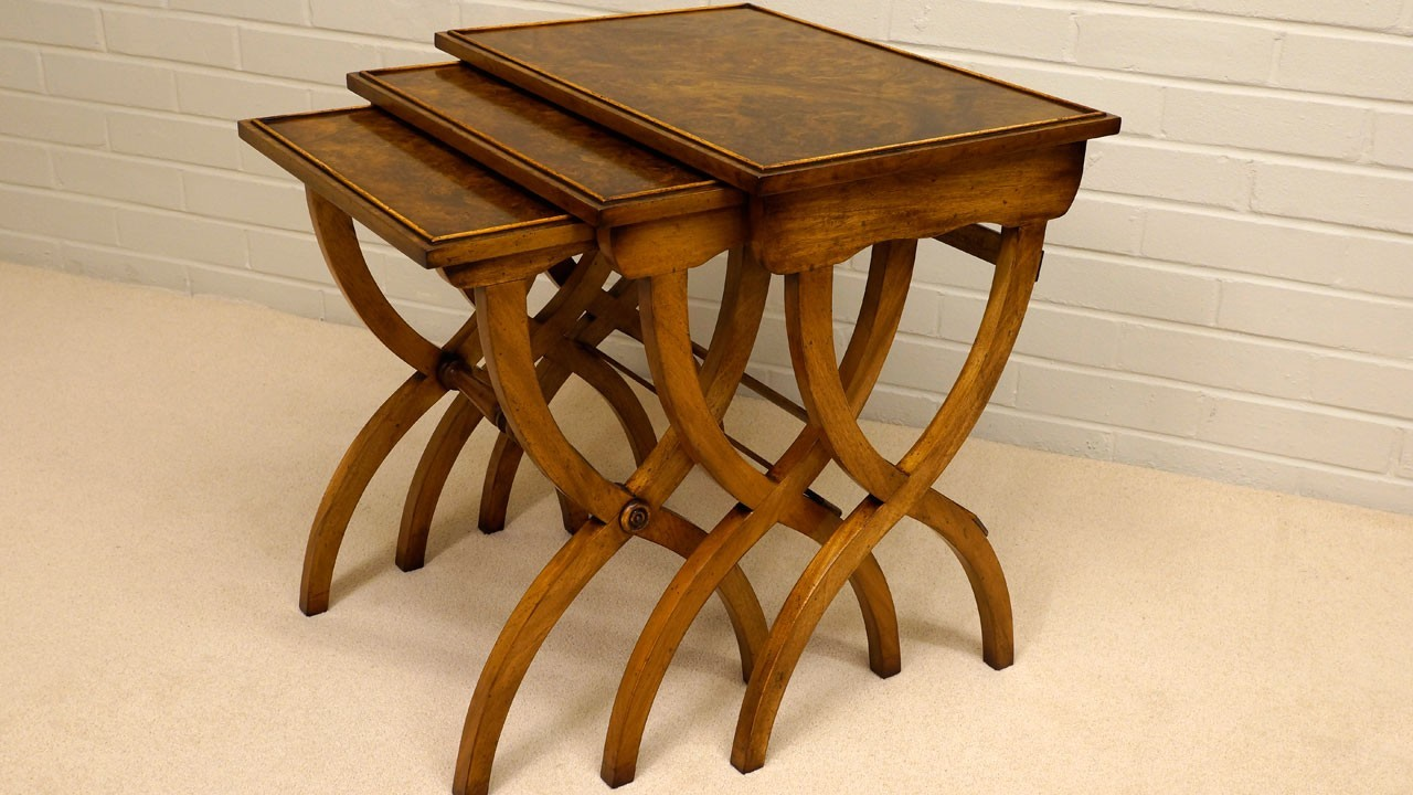 Burr Walnut Nest of Tables - Angled View