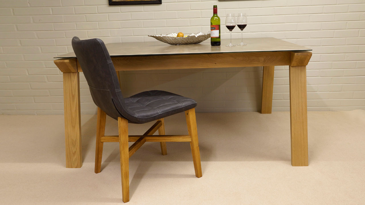 Ceramic Top Dining Table - Front View with Chairs