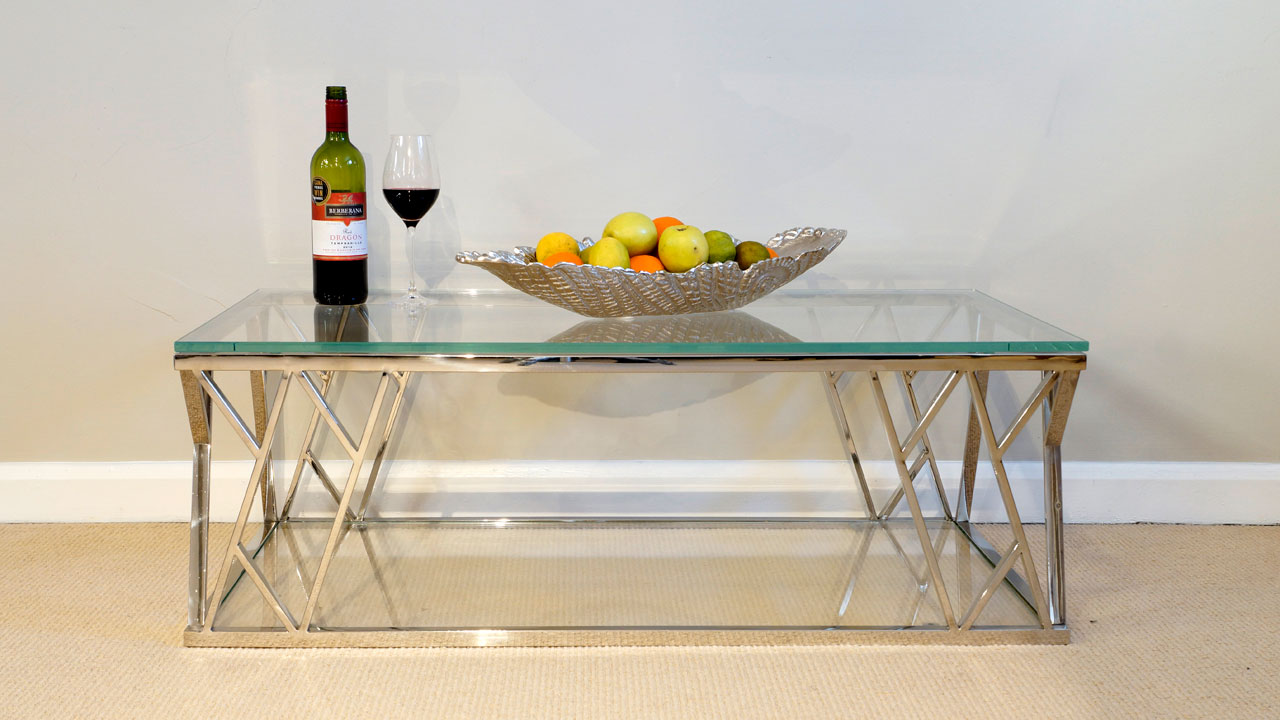 Akante Glass Top Coffee Table - Front View