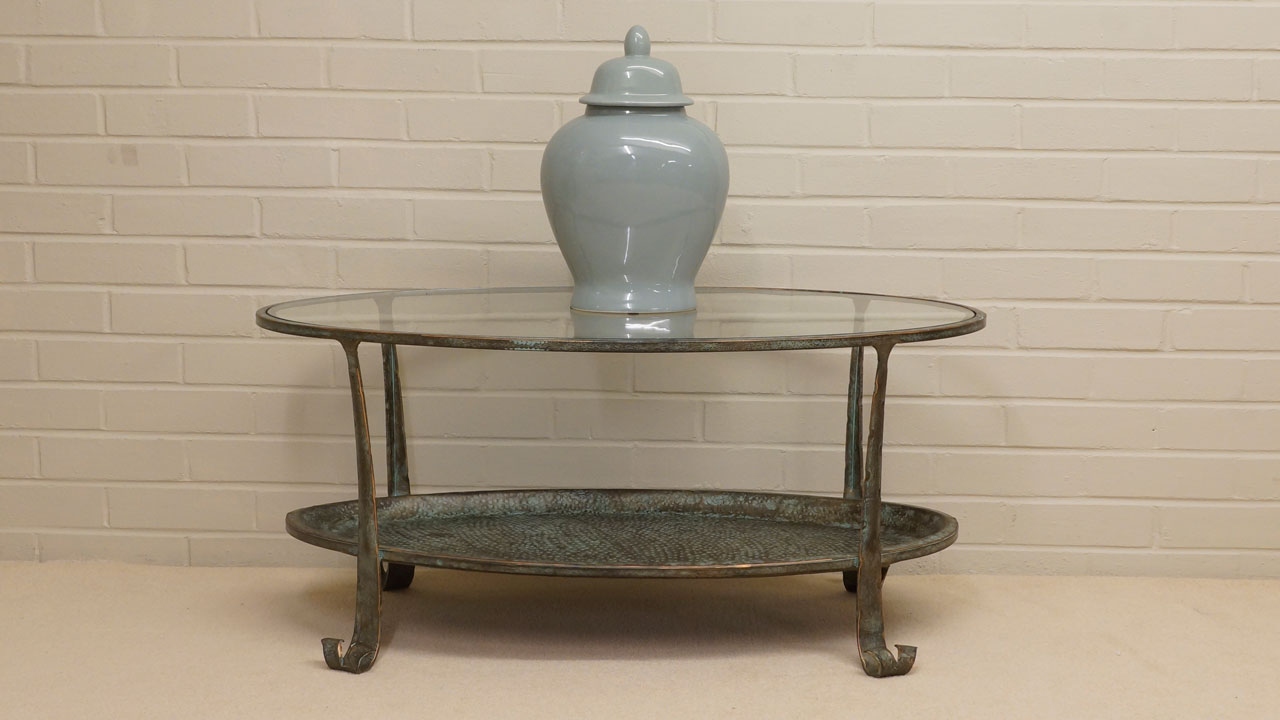 Cast Iron Glass Coffee Table - Front View