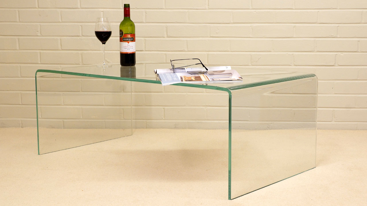 French Style Glass Coffee Table - Angled View