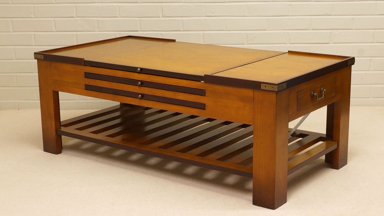 Cherrywood Game Coffee Table - Angled View - Wood Top
