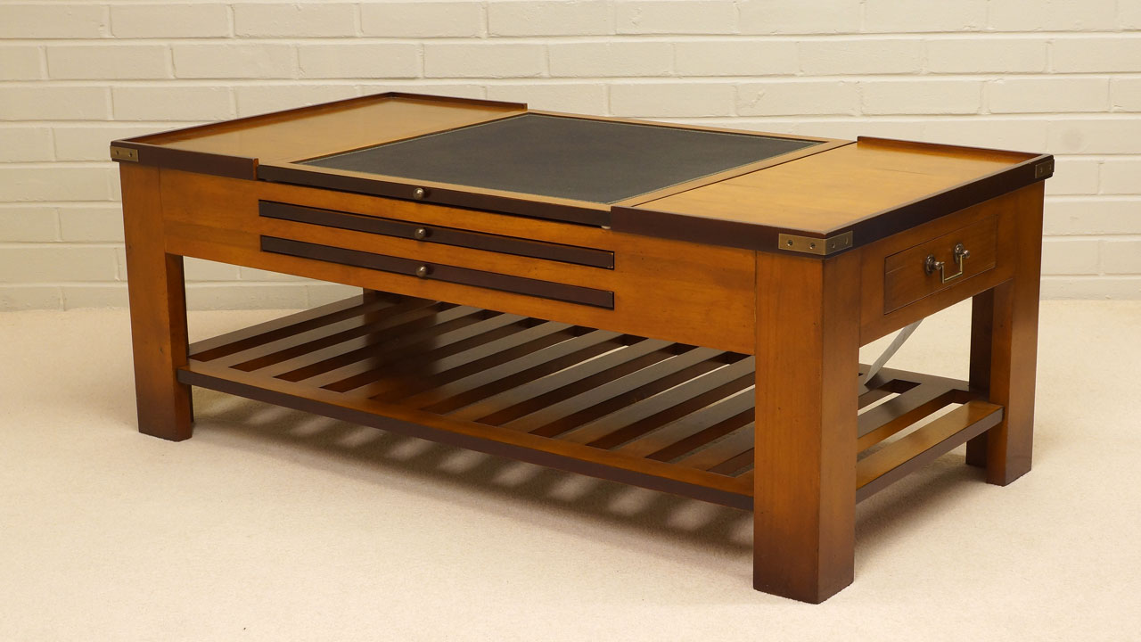 Cherrywood Game Coffee Table - Angled View - Plain Top