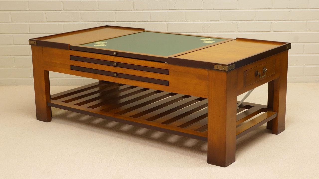 Cherrywood Game Coffee Table - Angled View - Card Top