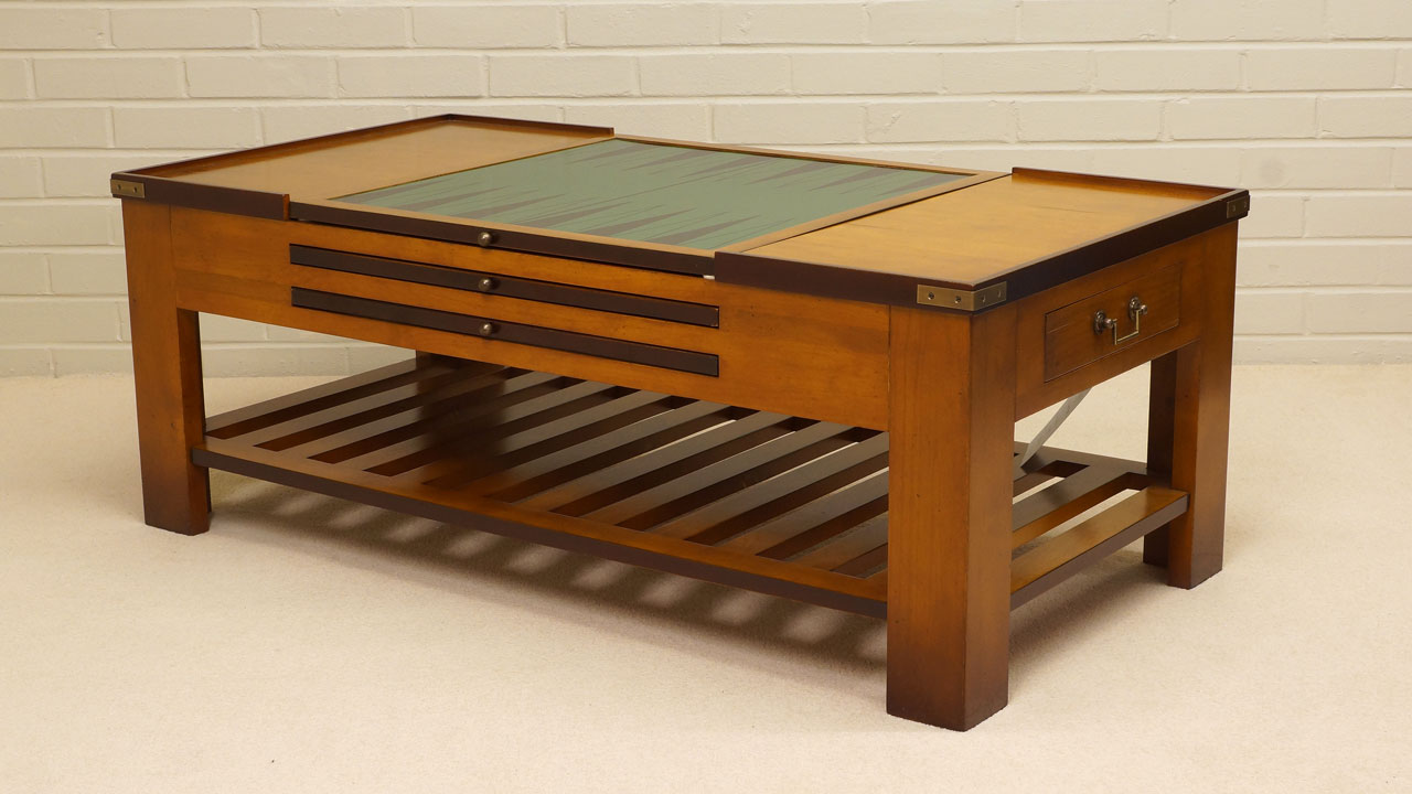 Cherrywood Game Coffee Table - Angled View - Backgammon Top
