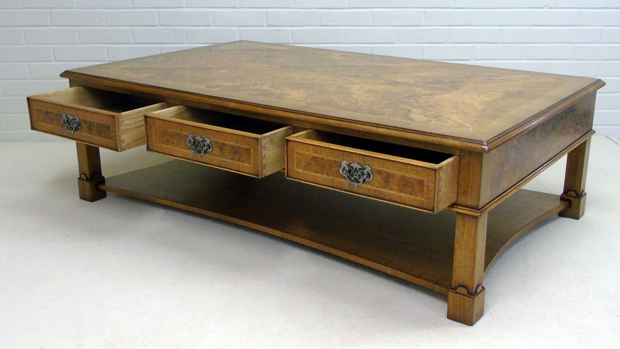 Iain James Walnut Coffee Table - Angled View - Drawers Open