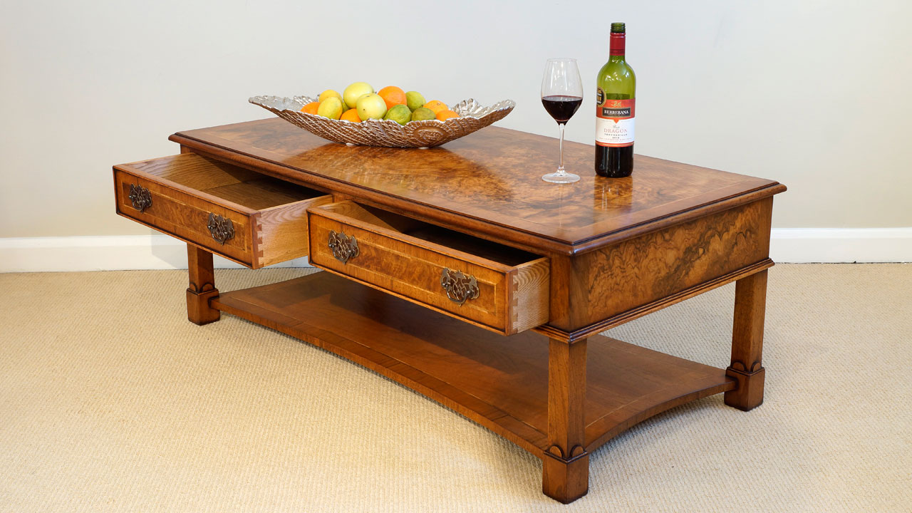 Walnut Coffee Table - Angled View - Drawers Open