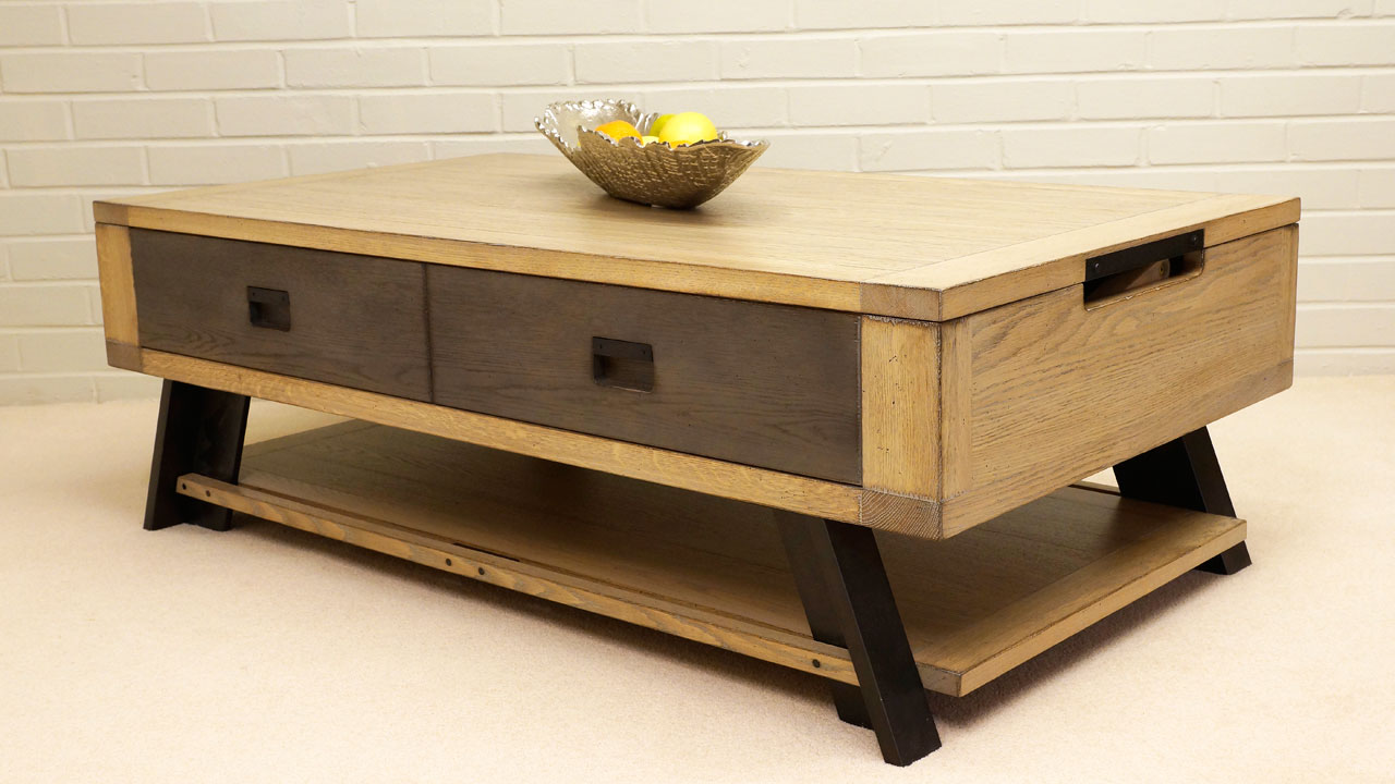 Industrial Lift Up Coffee Table - Angled View