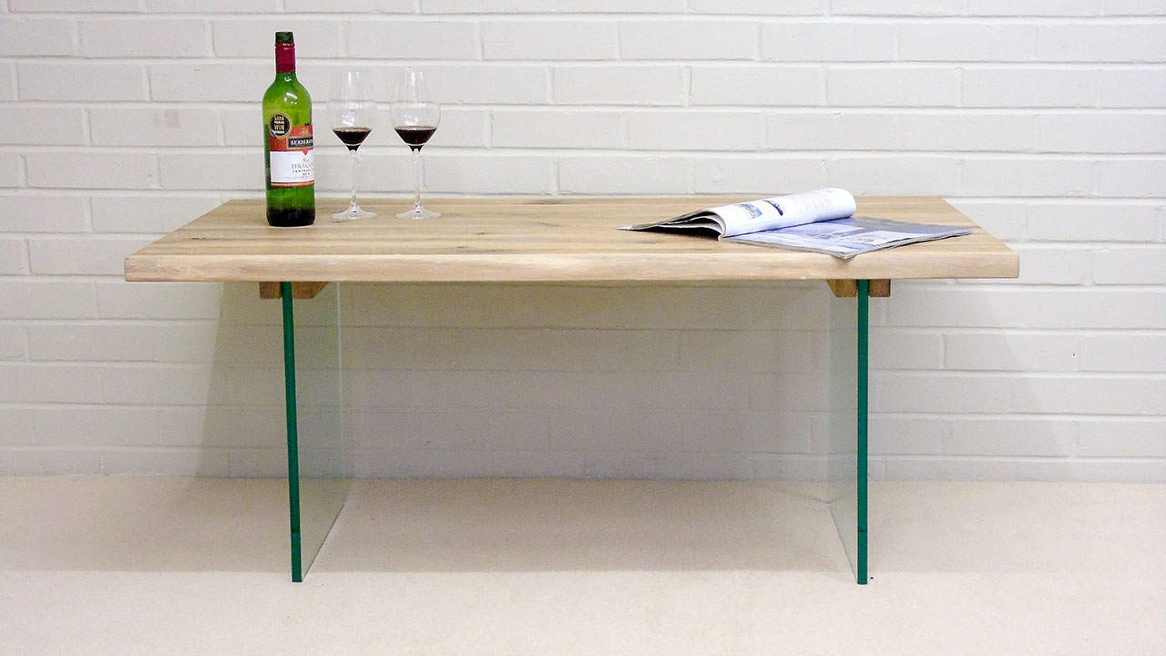 Oak & Glass Coffee Table - Front View