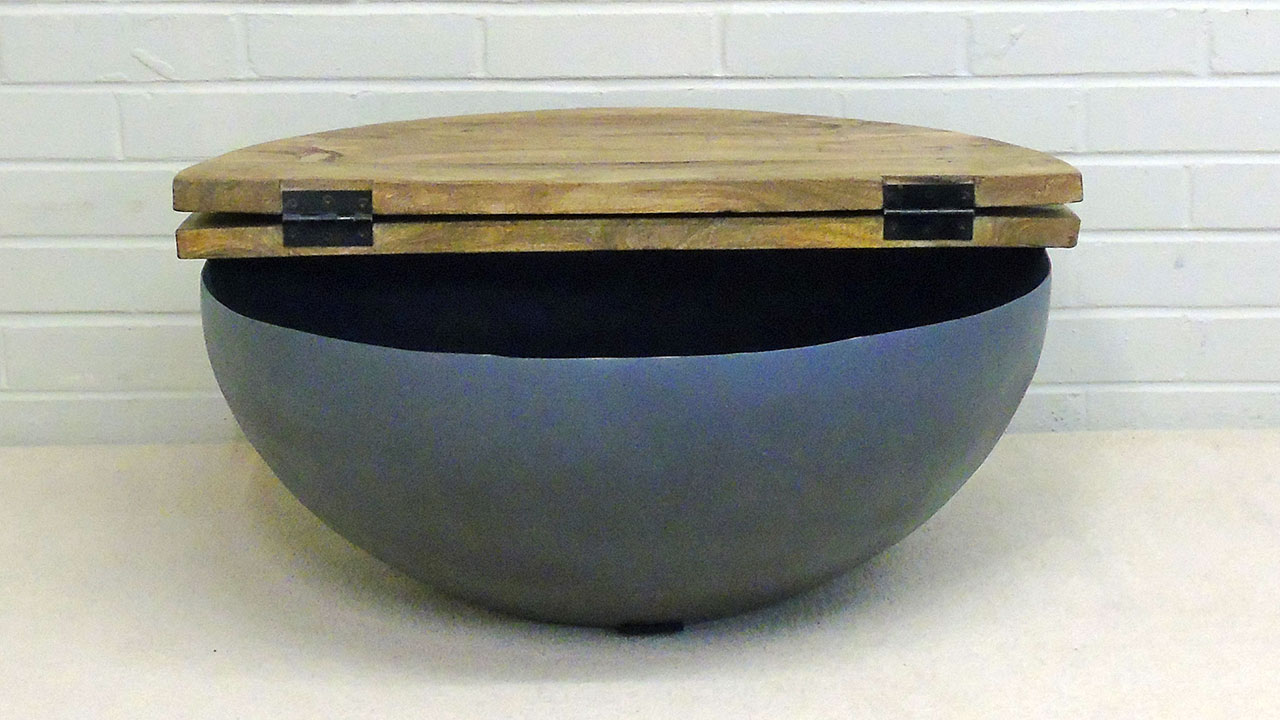Elm Round Coffee Table (Large) - Front View - Lid Up