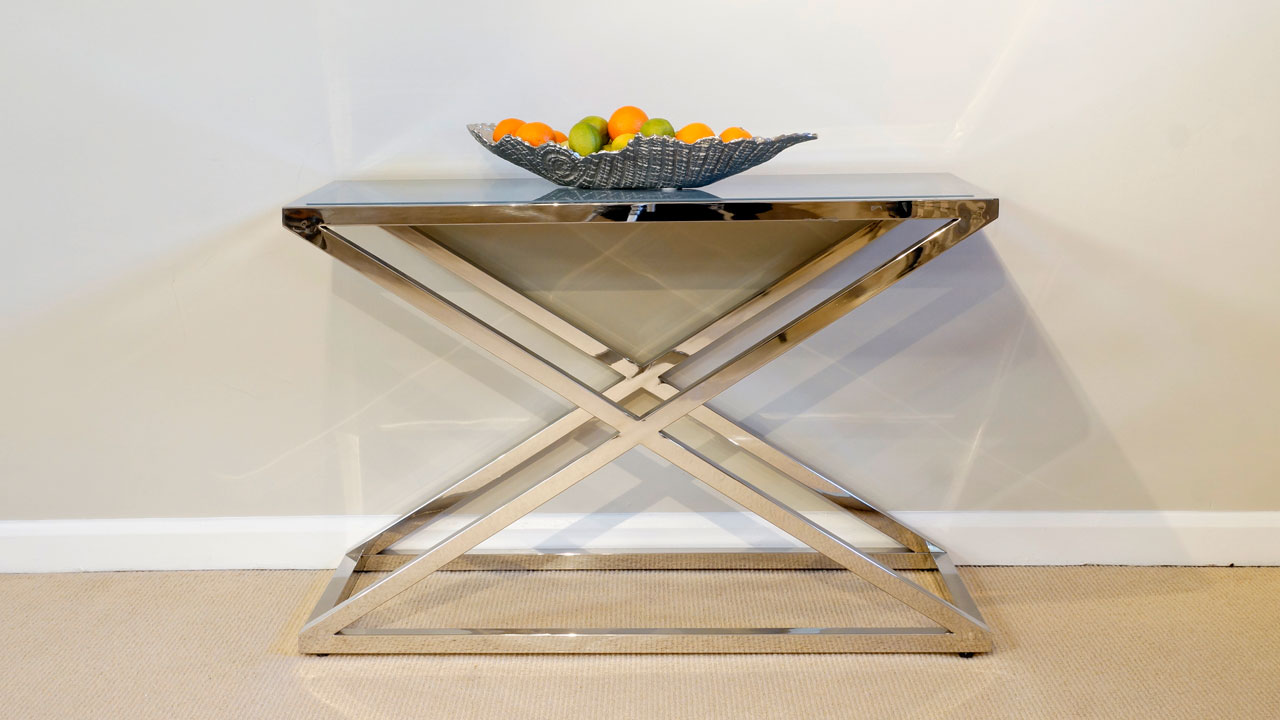 Chrome Console Table With Glass - Front View