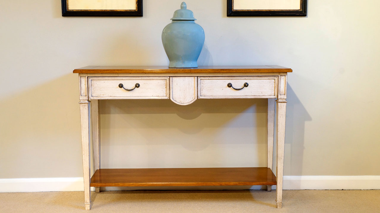 Painted 2 Drawer Console Table - Front View