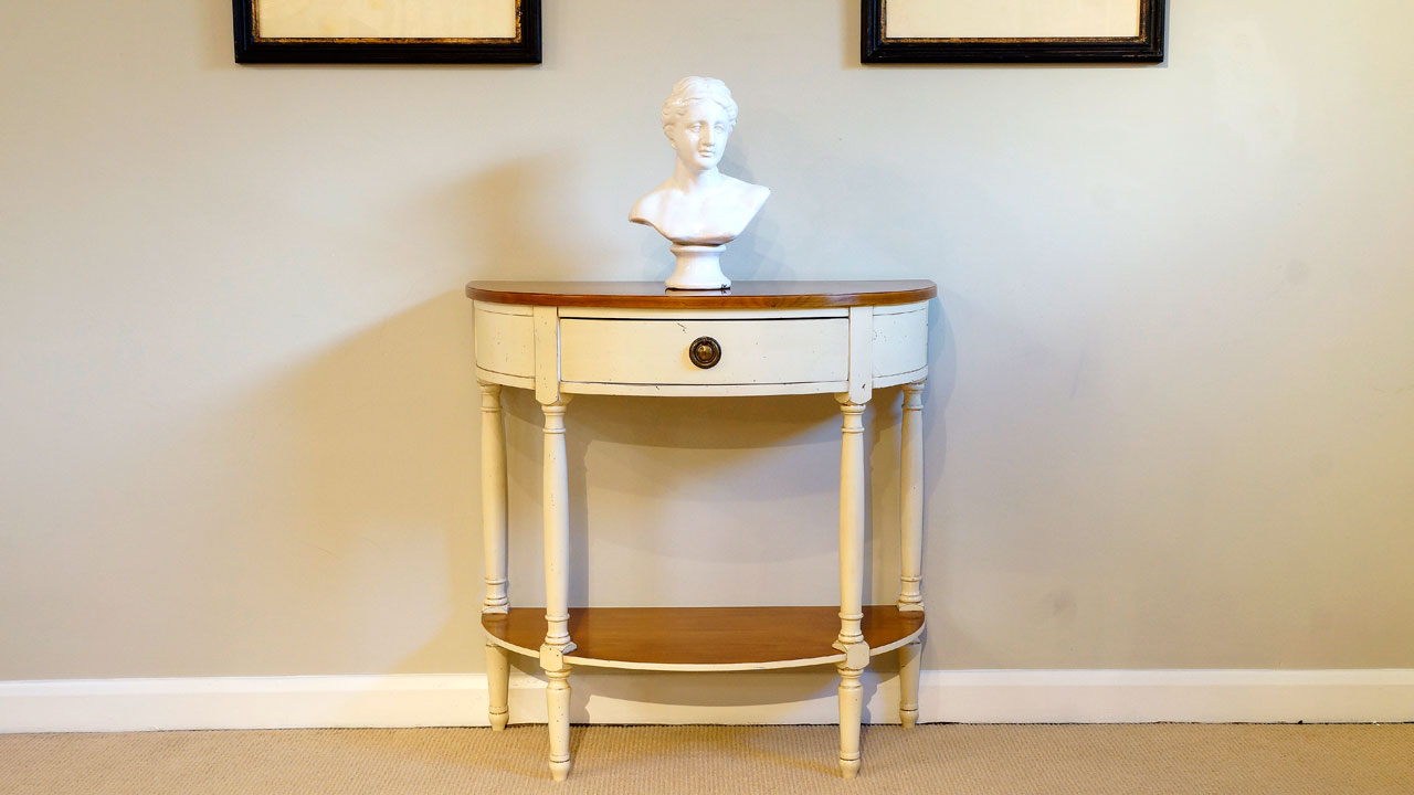 Painted Half Moon Console Table - Front View
