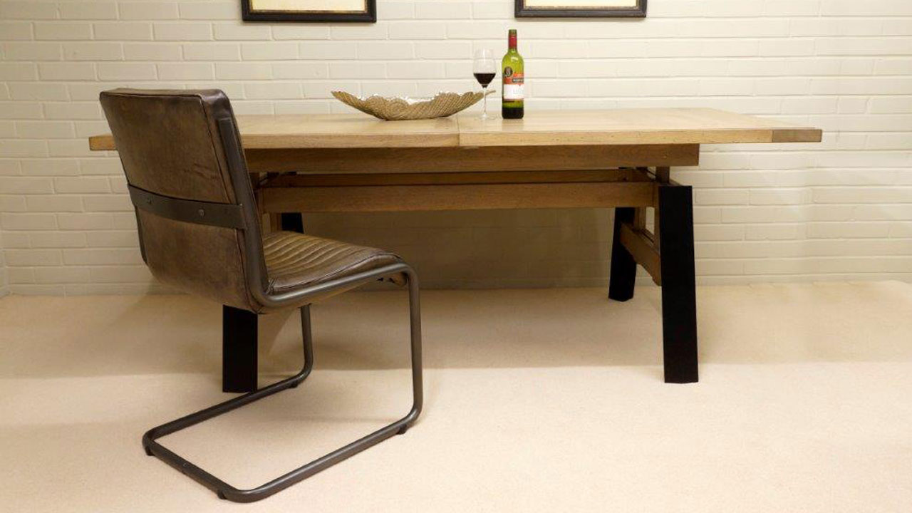 Factory Extending Dining Table - Front View with Chair