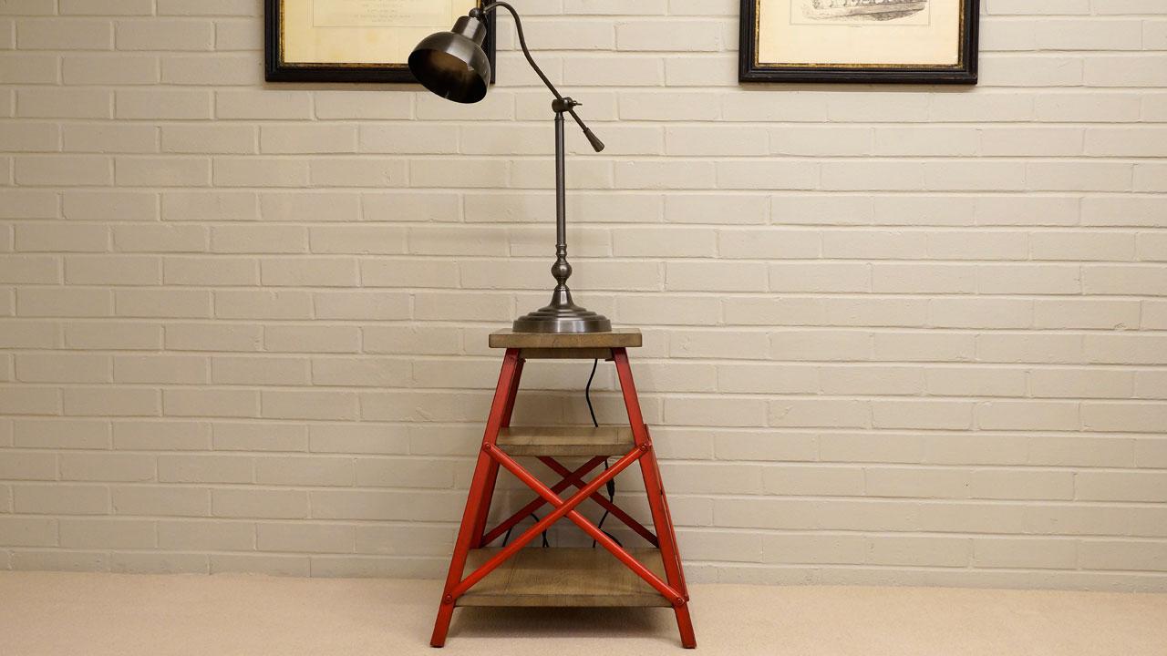 Industrial Lamp Table - Front View