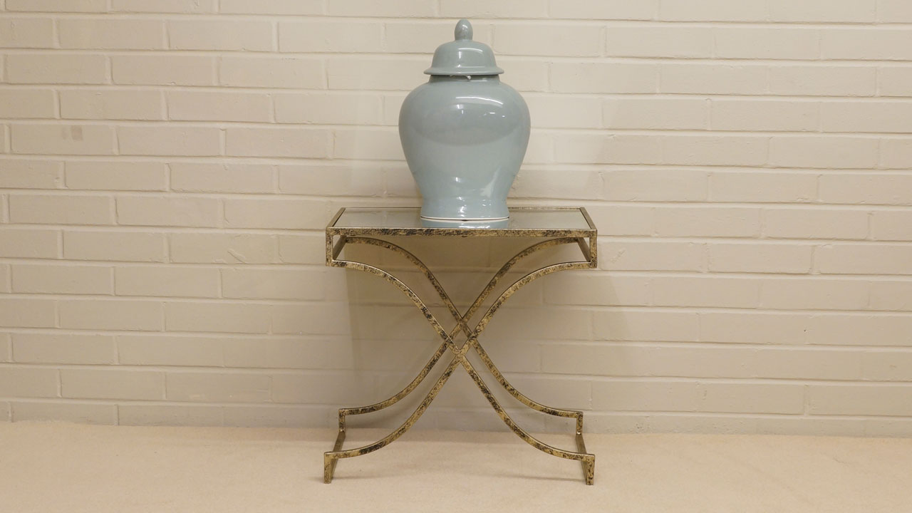 Gold Distressed Lamp Table - Front View