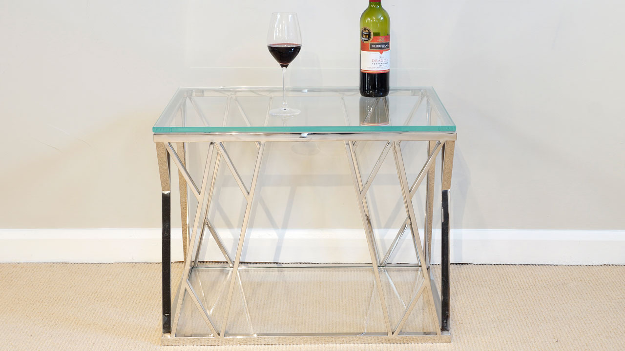 Akante Glass Lamp Table - Front View