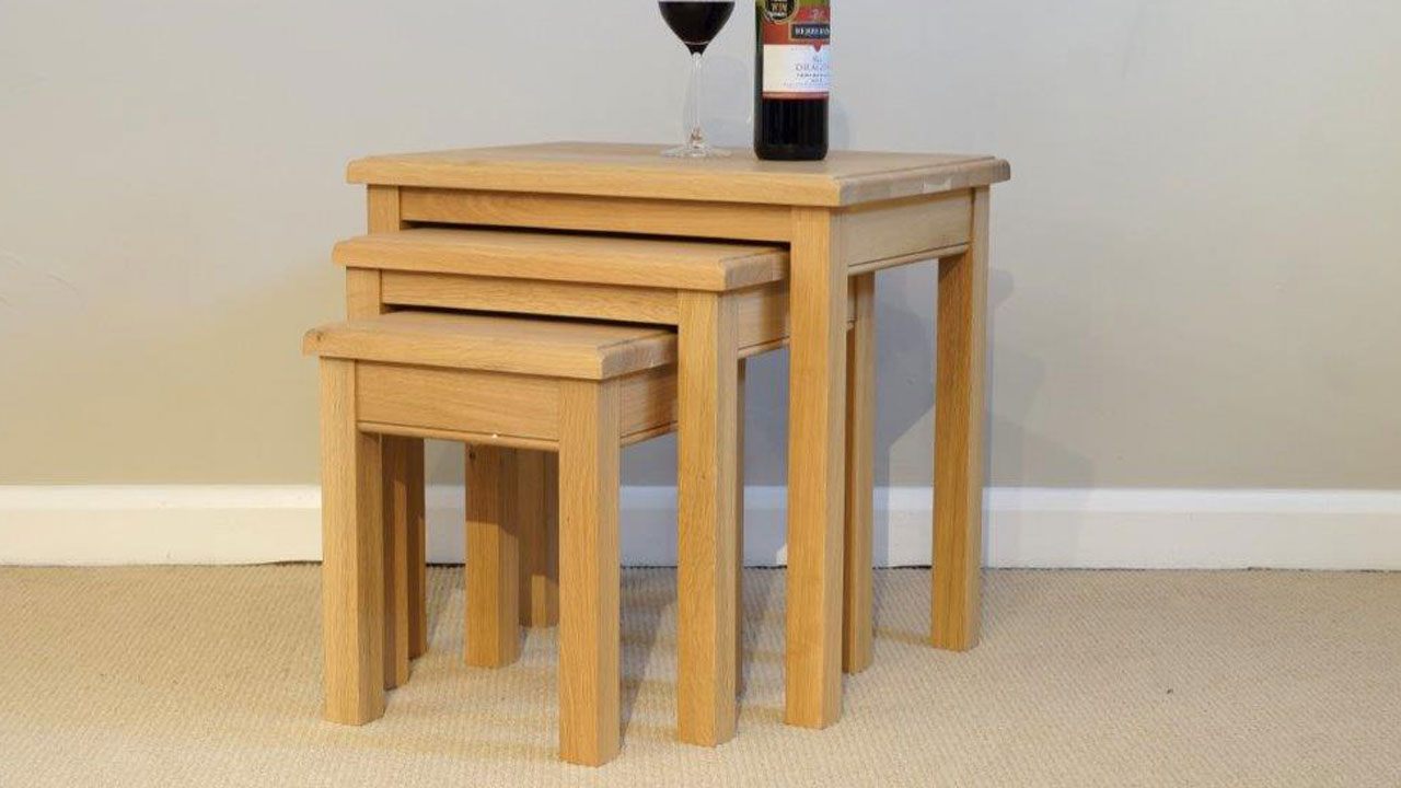 French Oak Co. Nest Of Tables - Angled View