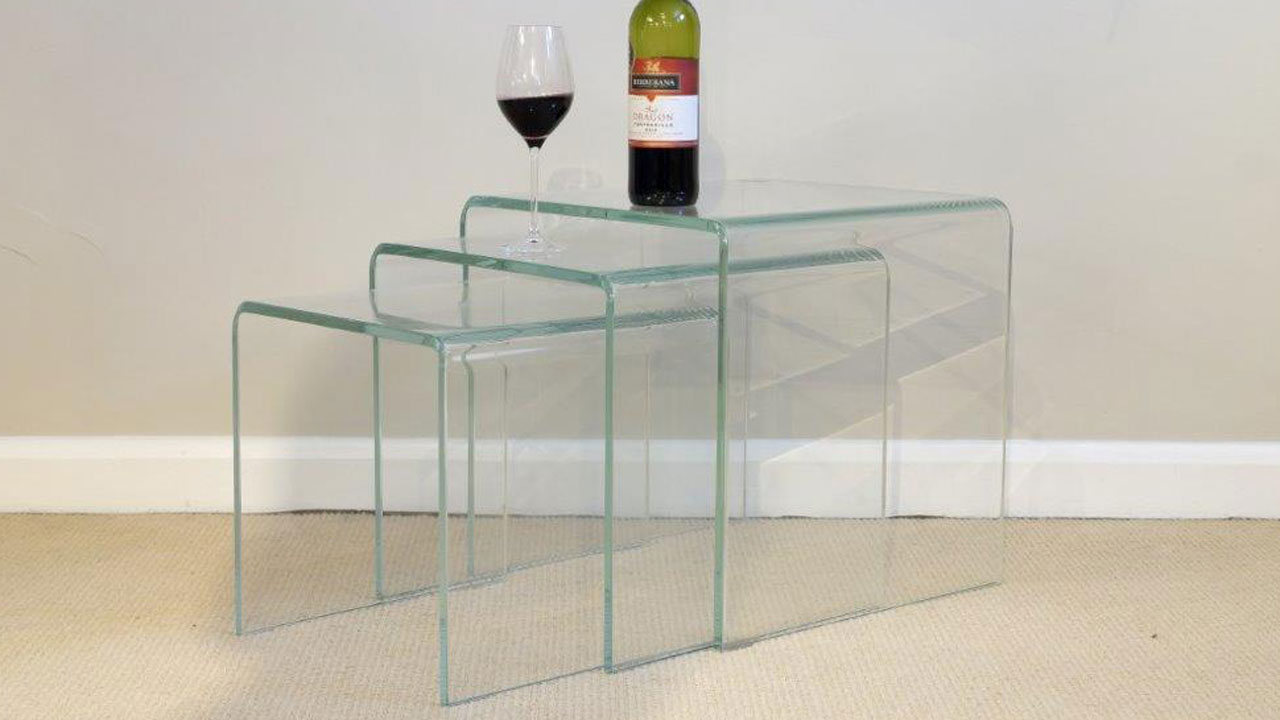 French Style Glass Nest Of Tables - Angled View