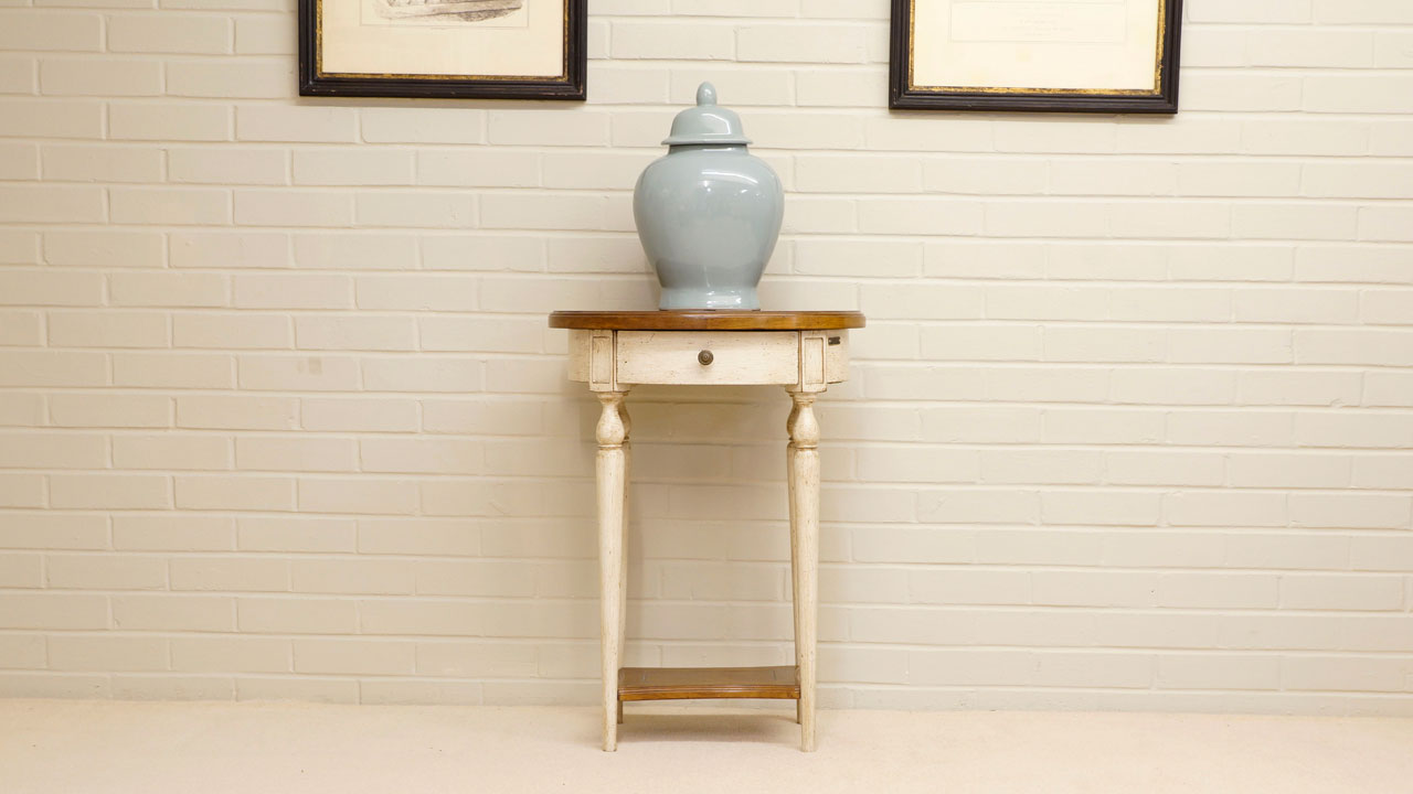 Provence Painted Lamp Table - Front View