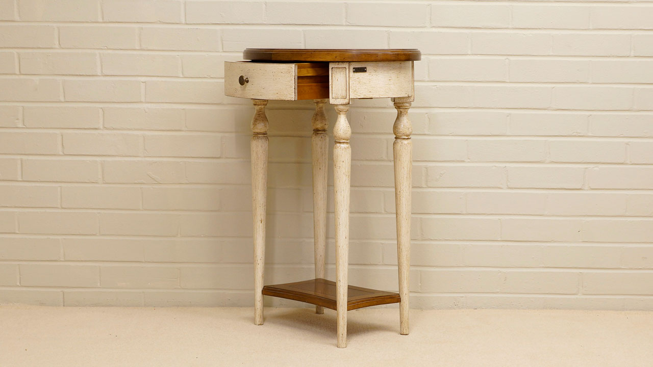 Provence Painted Lamp Table - Angled View - Drawer Open