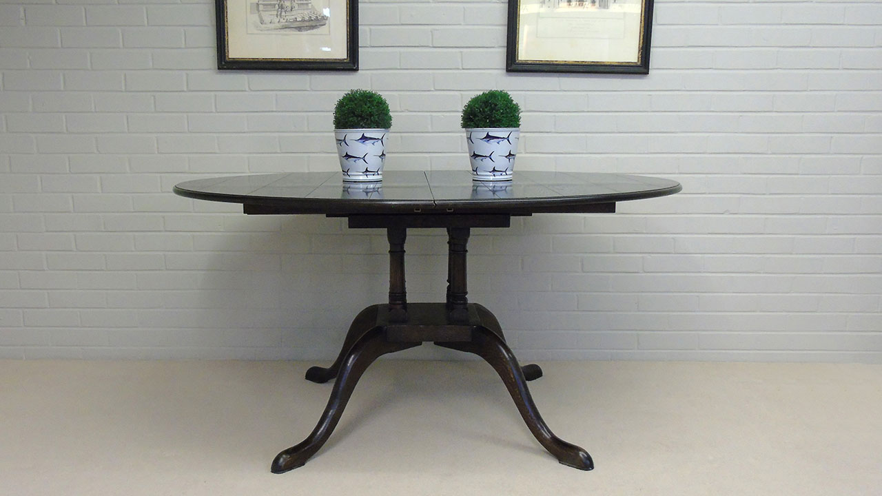 Solid Oak Extending Dining Table - Front View