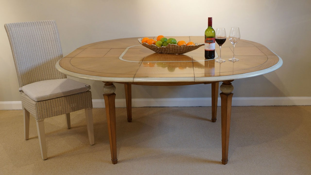 Vendome Dining Table (ex display) - Extended View with Chair