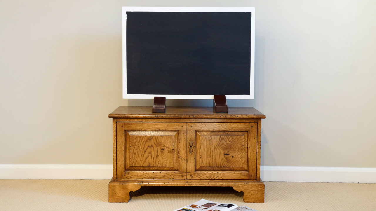 English Oak Low Video Cabinet - Front View