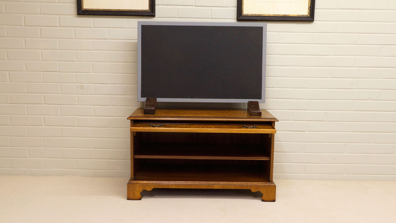Iain James Low Video Cabinet - Front View - Open