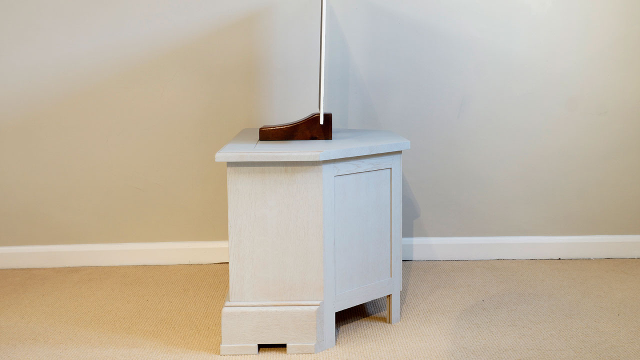 Oak Painted Corner Video Stand - Side View