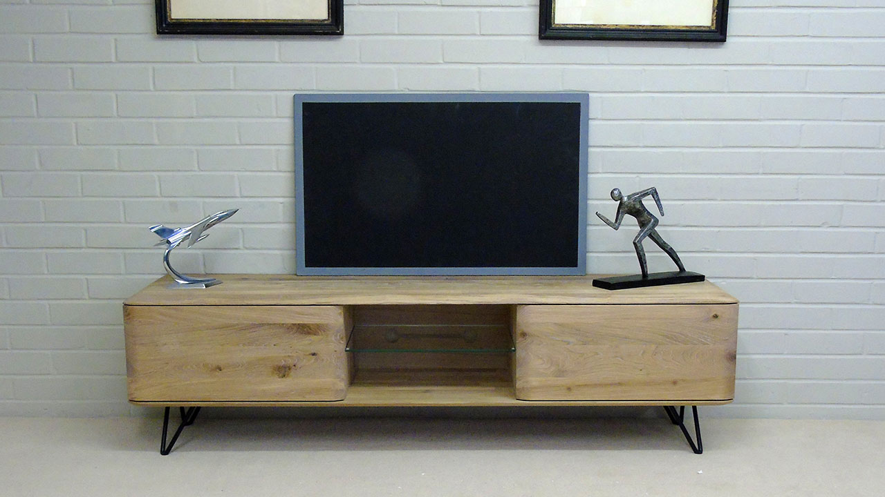 White Oak Low TV Stand - Front View