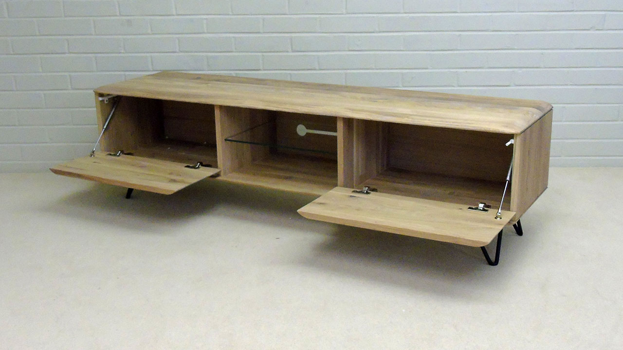 White Oak Low TV Stand - Angled View - Doors Open