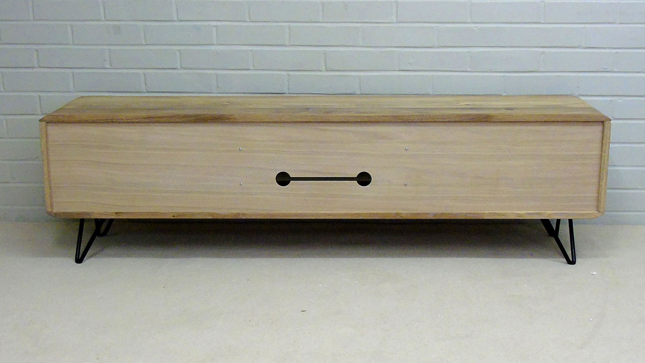 White Oak Low TV Stand - Back View