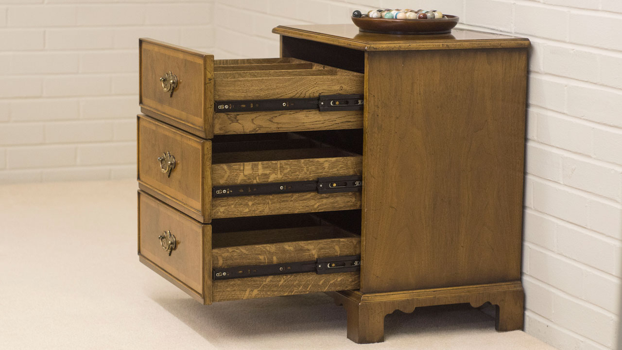 Walnut CD Storage Unit - Angled View - Drawers Open