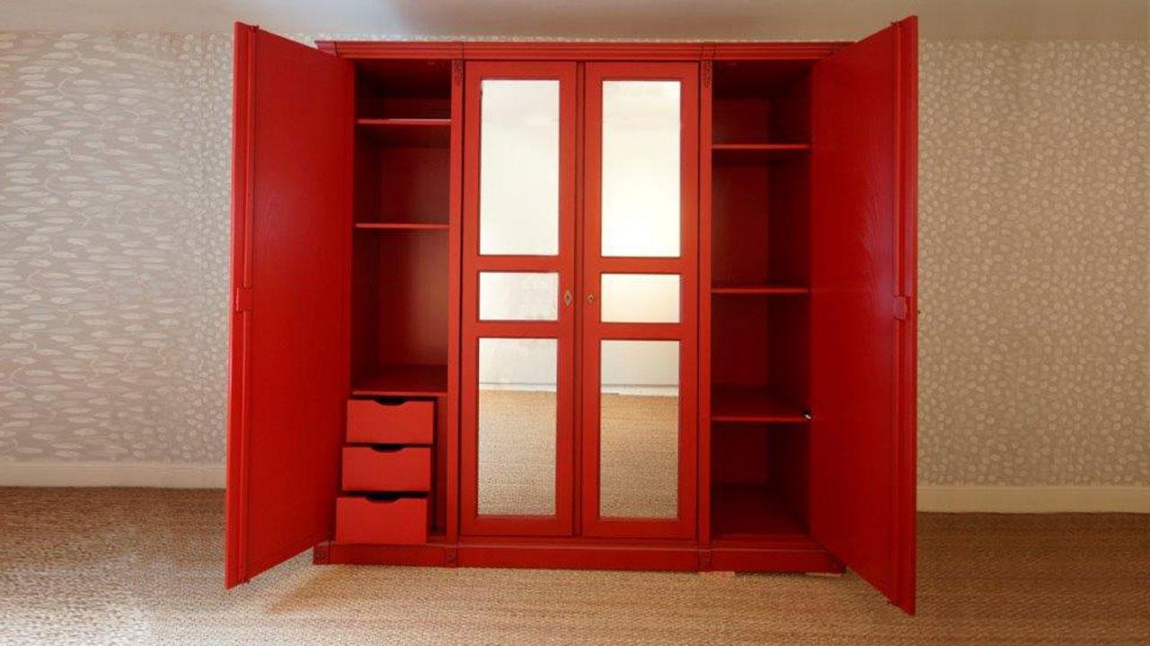 Siguier Red Wardrobe (ex display) - 2 Doors Open View